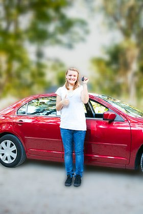 Teen driver with her first car